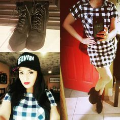 I steal my own merch 😛 of my gingham dress, snap back hat & night booties! Tomboy chic doesn't always mean pants 😚 Tomboy Chic, Gingham Dress, Snap Backs, Black Belt, Shirt Dress, T Shirt, Booty, Hat, Night