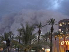 Downtown Phoenix as dust storm rolls in