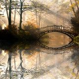 Autumn  Old bridge in autumn misty park