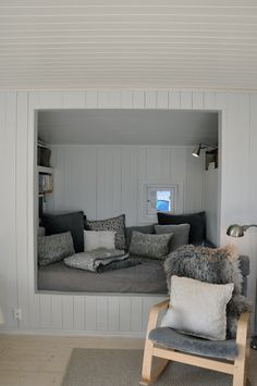 Reading nook for the master bed room. I would love a window behind it. Bed Nook, Cozy Nook, Cozy Corner, Alcove Bed, Cosy Reading Corner, Attic Renovation, Attic Remodel, My New Room, My Dream Home