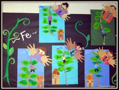 Jack and the beanstalk art project. several day project...would be cute to add their picture to the project we already do.