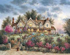 Bear Cottage by Dennis Lewan Fantasy Landscape, Landscape Art, Landscape Paintings, Belle Image Nature, Thomas Kinkade Art, Kinkade Paintings, Images Vintage, Painted Cottage, Beautiful Paintings