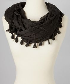 Take a look at this Black Tassel Infinity Scarf by SAKA INC. on #zulily today!