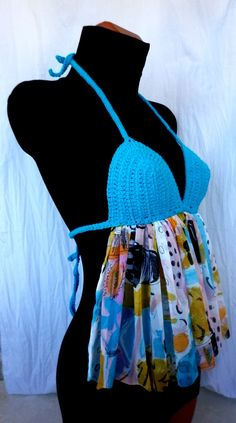 Womens Clothes Retro Backless Turquoise Summer Sexy by EliSmile