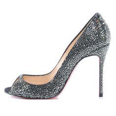 Fashionphile - CHRISTIAN LOUBOUTIN Suede Crystal Sexy Strass 100 Peep Toe Pumps 37.5 Black Diamond