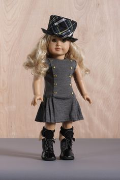 The Ringmaster OOAK BT Grey Jumper Dress and Plaid Hat Outfit for 18 Dolls | eBay
