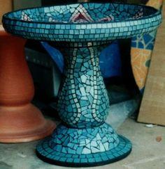 Mosaic bird bath by bettye
