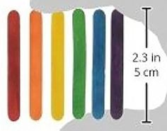 """Durable, Strong & Non-Toxic {2.3"""" x .13"""" Inch} 150 Bulk Pack of Mini Multi-Purpose Craft Sticks for DIY, Food, Beauty & More, Made of Baltic Birch Wood w/ Rainbow Stained Style {Assorted Colors}"""
