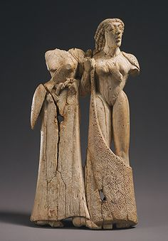 Plaque with two women, ca. 650–600 B.C.; Archaic Greek Ivory; H. 5 3/8 in. (13.64 cm)