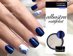 Un albastru, de neuitat! Pigment Chrome - Albastru Catifelat  http://brillbird.ro/categorie-produs/decor_unghii/sclipici-decor_unghii/pigment-oglinda/