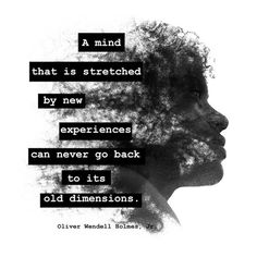 A mind that is stretched by new experiences can never go back to its old dimensions. —Oliver Wendell Holmes, Jr.