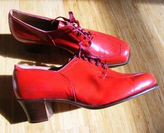 Vintage 1940s 50s RED Swing Shoes