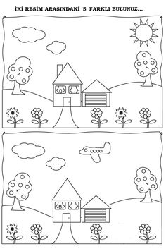 Spot the difference Kindergarten Drawing, Kindergarten Math Worksheets, Worksheets For Kids, Preschool Writing, Free Preschool, Infant Activities, Preschool Activities, Visual Perception Activities, Halloween Worksheets