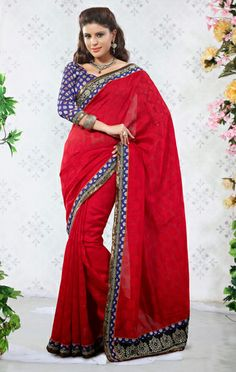 USD 100.21 Red Border Work Silk Party Wear Saree  29353