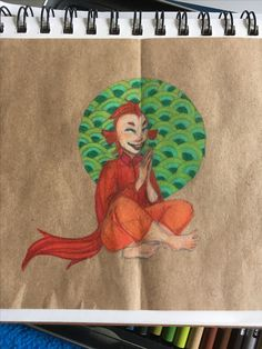 This is a humanized version of my betta fish who passed away. Done with Prismacolor colored pencils on a scrap of brown paper bag.