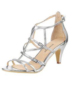 sandalettes argentes petits talons et multibrides chaussures pour un mariage sublime avec une robe blanche - Escarpin Argent Mariage