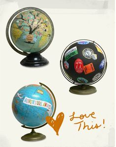 inspiration: consider rescuing a damaged old globe and decoupaging something amazing...