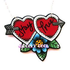 Stay True Sweetheart Necklace by Dolly Cool 40s 50s Reproduction Vintage Style Novelty WW2 Rockabilly Jewellery - Rockabilly Jewelry