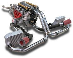 Turbo and supercharged I want this setup on my Nissan Frontier to improve gas mileage. Ls Engine, Motor Engine, Chevy Motors, Turbo System, Race Engines, Performance Cars, Performance Engines, Drag Cars, Twin Turbo
