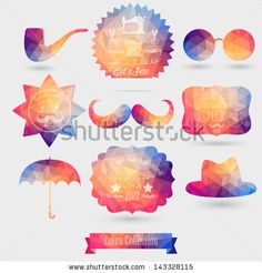Vector Hipster background made of geometric pattern. Retro labels design. Square composition with geometric shapes. Hipster theme label. Mustache. Hat. Umbrella. Star. Sun glasses.