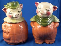 """Although everything """"Shawnee"""" is collectible, the cookie jars are especially popular.: Shawnee Bank Head Jars"""