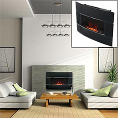 for the living room, a stylish electric fireplace