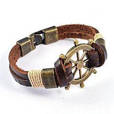 Bracelet  Cuir Marron Barre à Roue Marin Hope Pour Homme - Men Bangle
