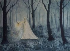 Fantasy Watercolour Painting. Original, Forest, cloaked figure, lady, woman woodland, trees, by ArtWorkBySue on Etsy
