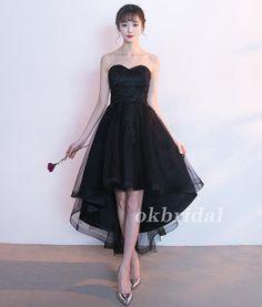 High-Low Tulle Unique Homecoming Dress, Applique Sweet Heart Black Hom – OkBridal