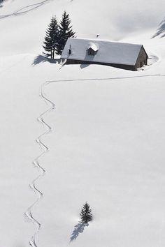 Skiing somewhere. Switzerland?
