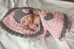 Pink and Gray Baby Blanket Crib Size & Hat by HandcraftedHolidays, $55.00