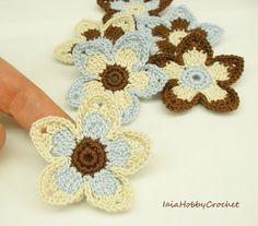 6 Large Crochet Flowers, Crochet Appliques, Big Crochet Flower, Crochet Embellishments set of 6 - READY TO SHIP