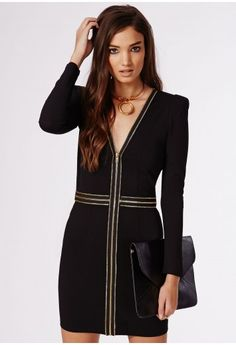 Be a daring diva in this amazing tailored black dress with double zip trims. In a medium weight crepe fabric, featuring long sleeves and midi length, this sharp smokin' piece is a true fashion force. Team with multi strap heels for the perf...