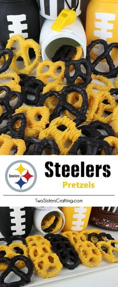 Pittsburgh Steelers Pretzels – yummy bites of sweet and salty Football Game Day goodness that are super easy to make. They are perfect as a little extra treat at a NFL playoff party, a Super Bowl. Super Bowl Party, Pittsburgh Steelers, Pittsburgh Penguins, Birthday Party Games For Kids, Diy Birthday, Birthday Sweets, Birthday Ideas, Football Snacks, Football Crafts