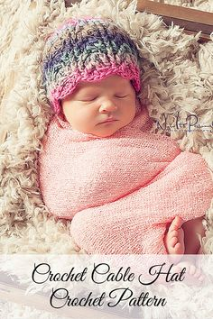 An elegant cable hat crochet pattern. Perfect for babies, kids, women and men. Includes all sizes. By Posh Patterns.