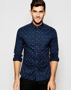 $40.44 ASOS Skinny Shirt with Anchor Print In Long Sleeve