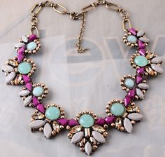 New Design bib statement women mint stone resin mixed crystal  necklace collar   #necklace