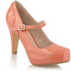 """Such a """"cute"""" shoe...Peach brogue court shoes found on Polyvore"""