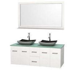 Wyndham Collection Centra 60 inch Double Bathroom Vanity in Matte White, Green Glass Countertop, Altair Black Granite Sinks, and 58 inch Mirror