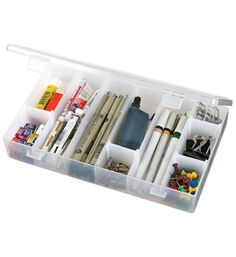 Artbin Infinite Divider System Box is a customizable art supply storage box with movable dividers. Available in two different sizes/models: Small (11 W by 1.75 H by 7 D inches) and Large (13.5 W by 1.75 H by 9.5 D inches).