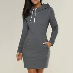 Mini winter Dress    You want to feel warm on winter! No problem! with this stunning Mini winter hoodie dress, you will fell comfortable and warm in your day out. This comfortable, casual dress comes with a drawstring adjustable hood as well as front pockets, Polyester, Cotton. Style yours with sneakers, flats or your favorite boots.