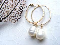 Baroque pearl Hoop Earring, White Freshwater Baroque pearls, Handmade Gold Fill Hoop, Gold Fill wire. by OceanHue on Etsy