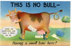 Unused Linen Postcard - This is no Bull - Having a Swell Time Here! Bull Cow, Cow Art, Funny Cows, Comics, 1940s, Cartoons, Comic, Comics And Cartoons, Comic Books
