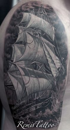black and grey ship tattoo by Remis, remistattoo, realism, realistic tattoo, tattoo ideas, inspiration, sleeve, arm, half sleeve, full sleeve, ship, detailed