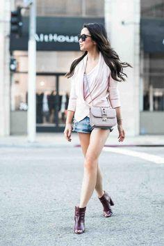 Shorts, rose blazer, open booties