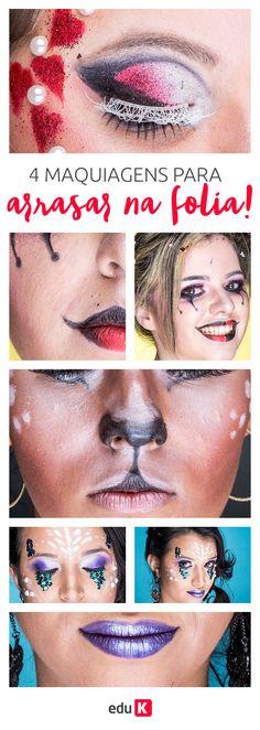 Maquiagens com muito glitter e muita cor para você brilhar muito no Carnaval.