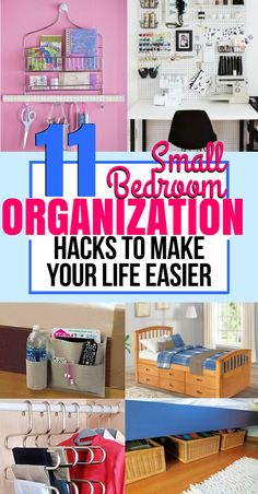 These organizing hacks for small bedroom are so cool! I'm so glad I found these GENIUS organization hacks to make a small bedroom feels bigger and tidier! This post is so helpful! organization ideas for the home Bedroom Storage For Small Rooms, Small Bedroom Organization, Small Space Storage, Organization Ideas, Bedroom Small, Warm Bedroom, Diy Bedroom, Master Bedroom, Clothing Organization