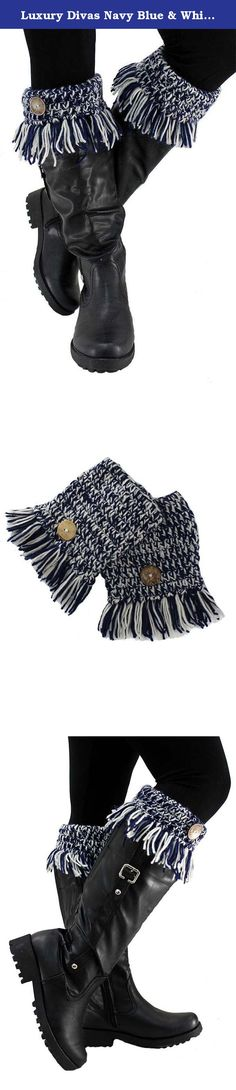 Luxury Divas Navy Blue & White Tassel Fringe Boot Cuffs With Button Trim. Whether your goal is warmth or to be fashion-forward, these wispy little boot cuffs will fill the order. Done in a contrasting knit, these cuffs slip-on and slide down over your boots adding eye-catching style. Cozy Double Strand Crochet Effortlessly Matches With Today's Boots Wispy Fringe & Button Accent Product Code: APL00180 SKU: L02748 Cuff measures 5.5 inches from top to bottom edge, excluding fringe. Measures…