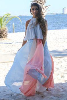 Folly Beach Multi Colored Maxi Skirt