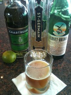 "My Word Is Gold.     .75 oz St-Germain, .75 oz Fernet Branca, .75 oz Green Chartreuse, .75 oz fresh lime juice. Shake all ingredients with ice and strain into a pre-chilled rocks ""down"" glass."